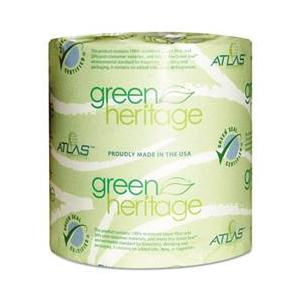 "Atlas Paper White 4""x3"" 1ply Green Heritage Bathroom Tissue 115"