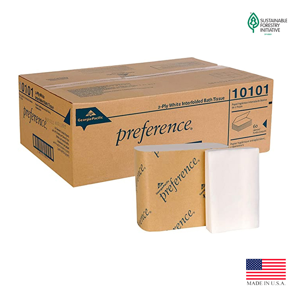 Georgia Pacific White Single Fold Preference Interfolded Bathroom Tissue 10101