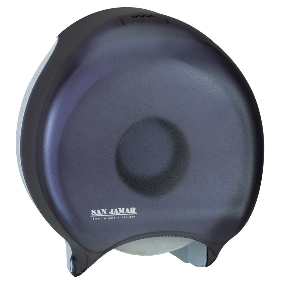 "San Jamar Black Pearl 9"" Single Junior Roll Bathroom Tissue Dispenser R2000TBK"