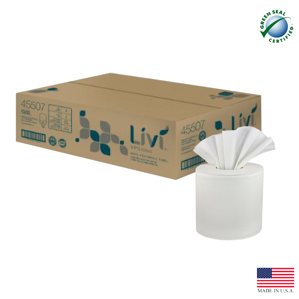 "Solaris Paper White 8""x600' 2ply Center Pull Towel 45507"