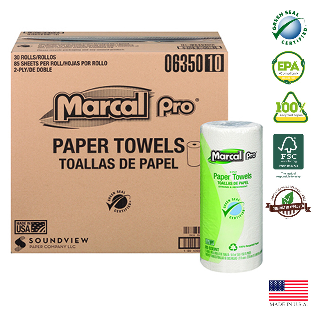 Soundview Paper White 2ply 85 Sheet Marcal Kitchen Towel Roll 06350-02
