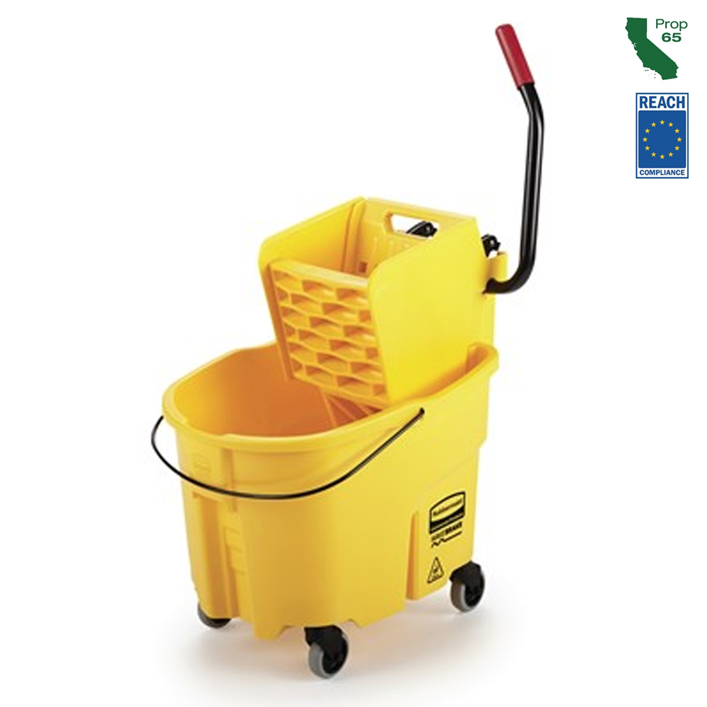 Rubbermaid Yellow Wave Brake Side Press Mop Bucket And Wringer FG758088YEL