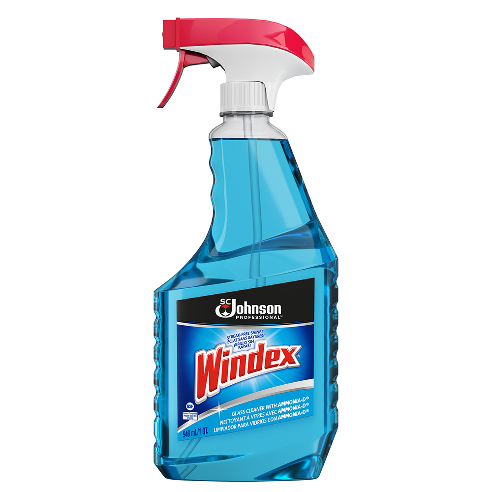 Diversey/SC Johnson Blue 32oz Windex Glass Cleaner With Ammonia Ready To Use Trigger Spray 9013