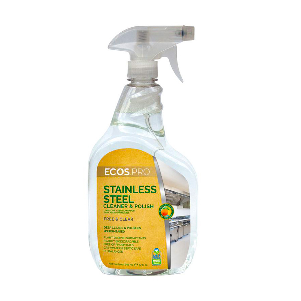 Earth Friendly Clear 32oz Ecos Pro Water Base Stainless Steel Cleaner PL9330/6