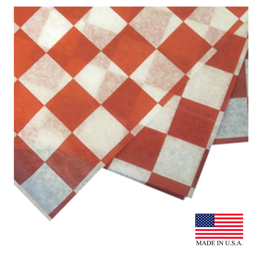 "Durable Red & White 12""x12"" Checkered Dry Wax Sheet FP1212-RD-2M"