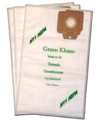 M&M Vacuum White Green Klean Fleece Filter Bag For Tornado Cv30 880