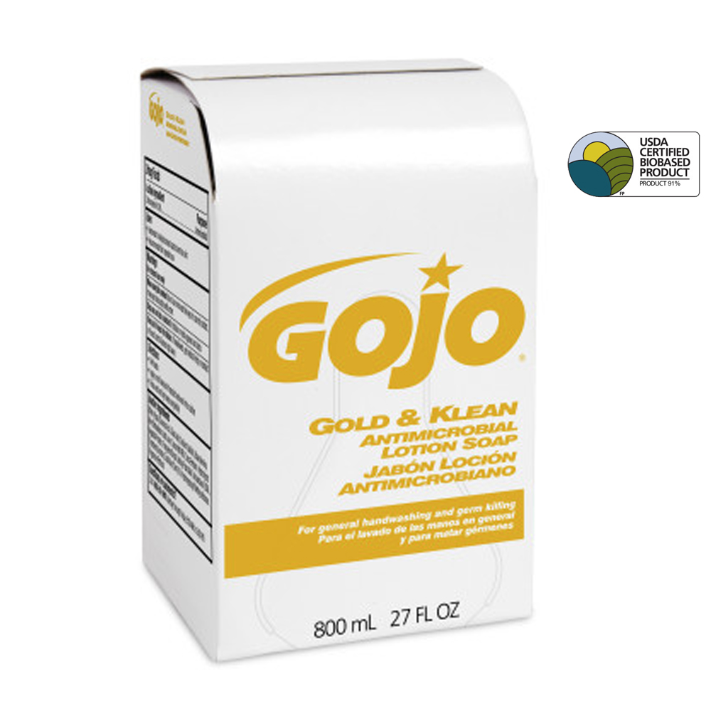 Gojo 800ml Gold & Klean Antimicrobial Lotion Soap Bag In Box 9127-12