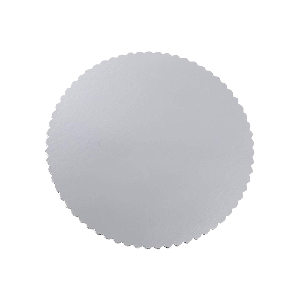 "Laminators Ind Silver 12"" Scalloped Laminated CakeCircle RSS-12"