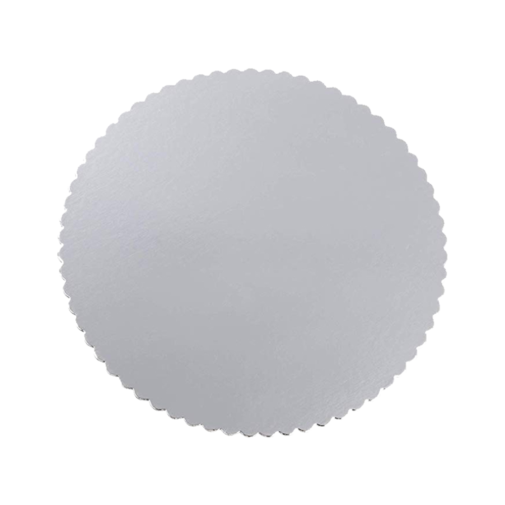 "Laminators Ind Silver 14"" Scalloped Laminated CakeCircle RSS-14"