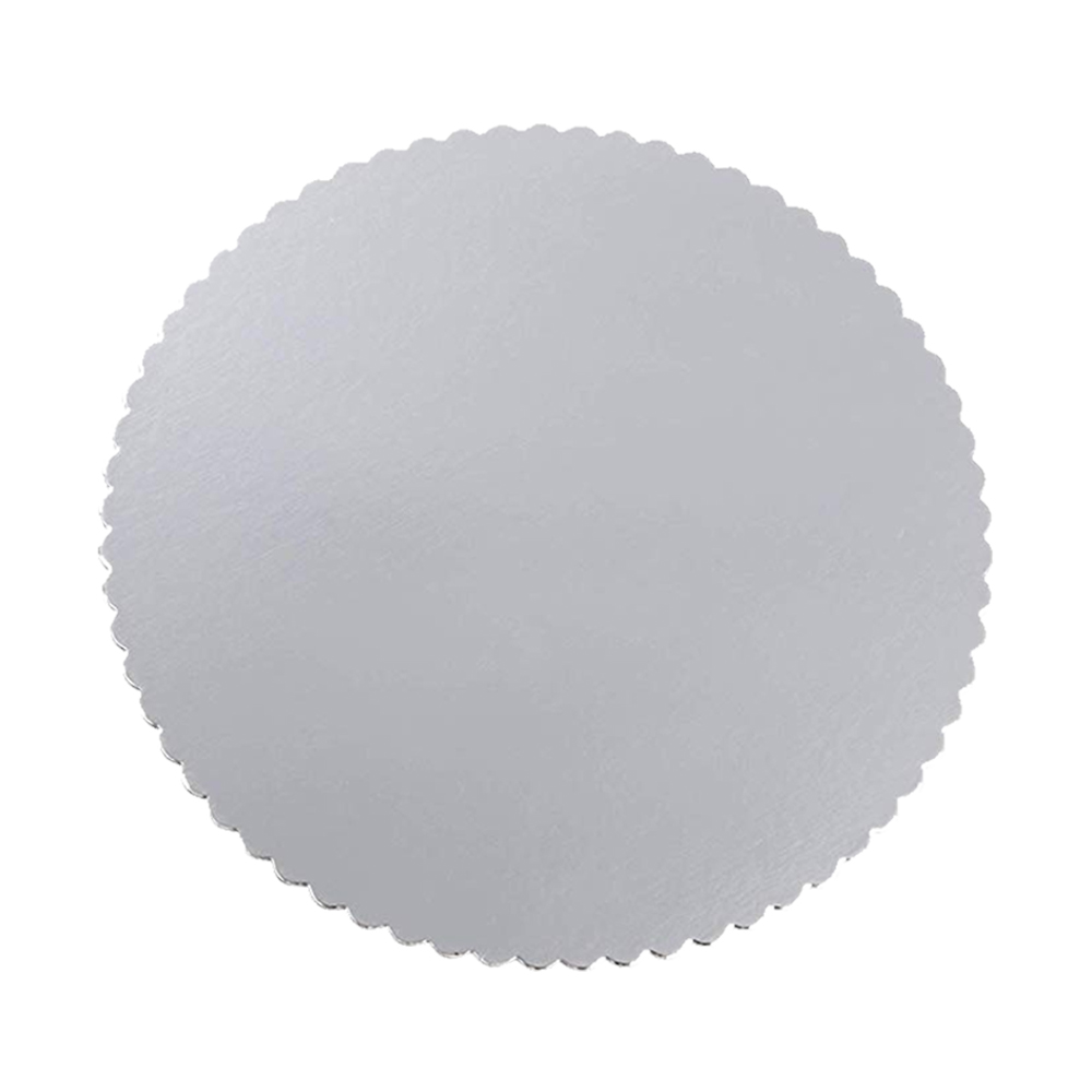 "Laminators Ind Silver 16"" Scalloped Laminated CakeCircle RSS-16"