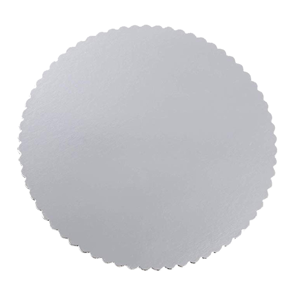 "Laminators Ind Silver 18"" Scalloped Laminated CakeCircle RSS-18"