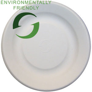 "Green Wave Intl White 6"" Bagasse Biodegradable Plate TW-POO-001"
