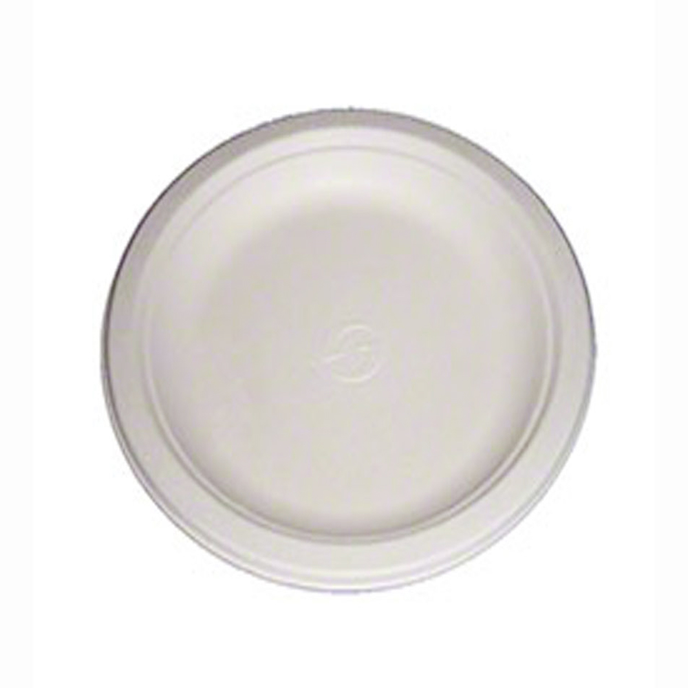 "Green Wave Intl White 9"" Bagasse Evolution Round Plate TW-POO-010S"