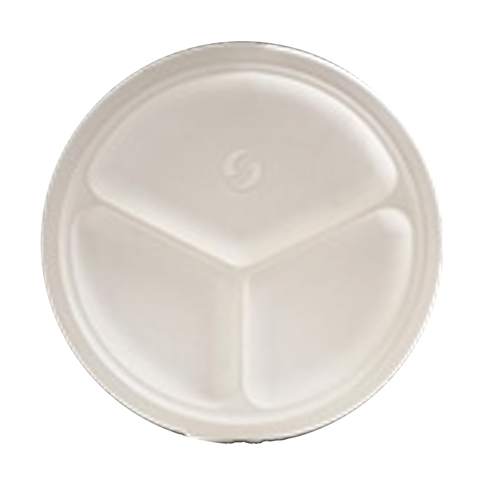 "Green Wave Intl White 10"" 3 Compartment Bagasse Evolution Plate TW-POO-005"