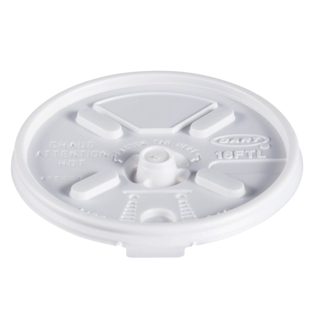 Dart White 16oz Tear Back Flat Lid 16FTL