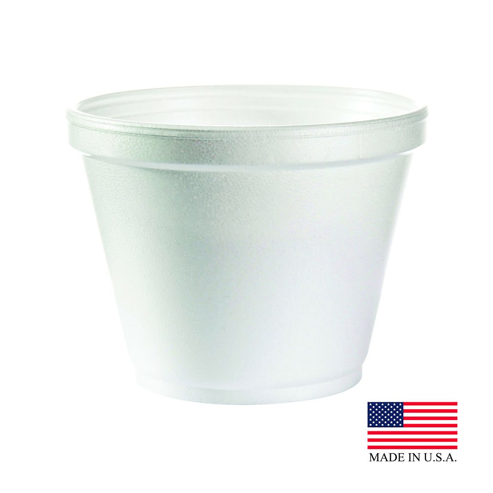 Dart White 12oz Squat Foam Container 12SJ20