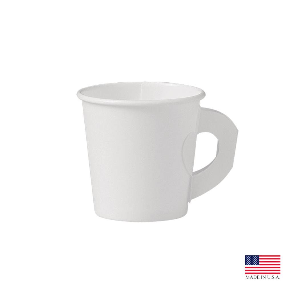 Solo White 4oz Single Poly Paper Hot Cup With Handle 374HW-2050