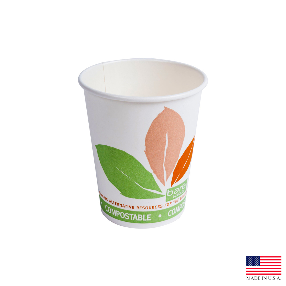 Solo Bare Bloom Leaf Print 10oz Eco Forward Paper Hot Cup 370PLA-J7234