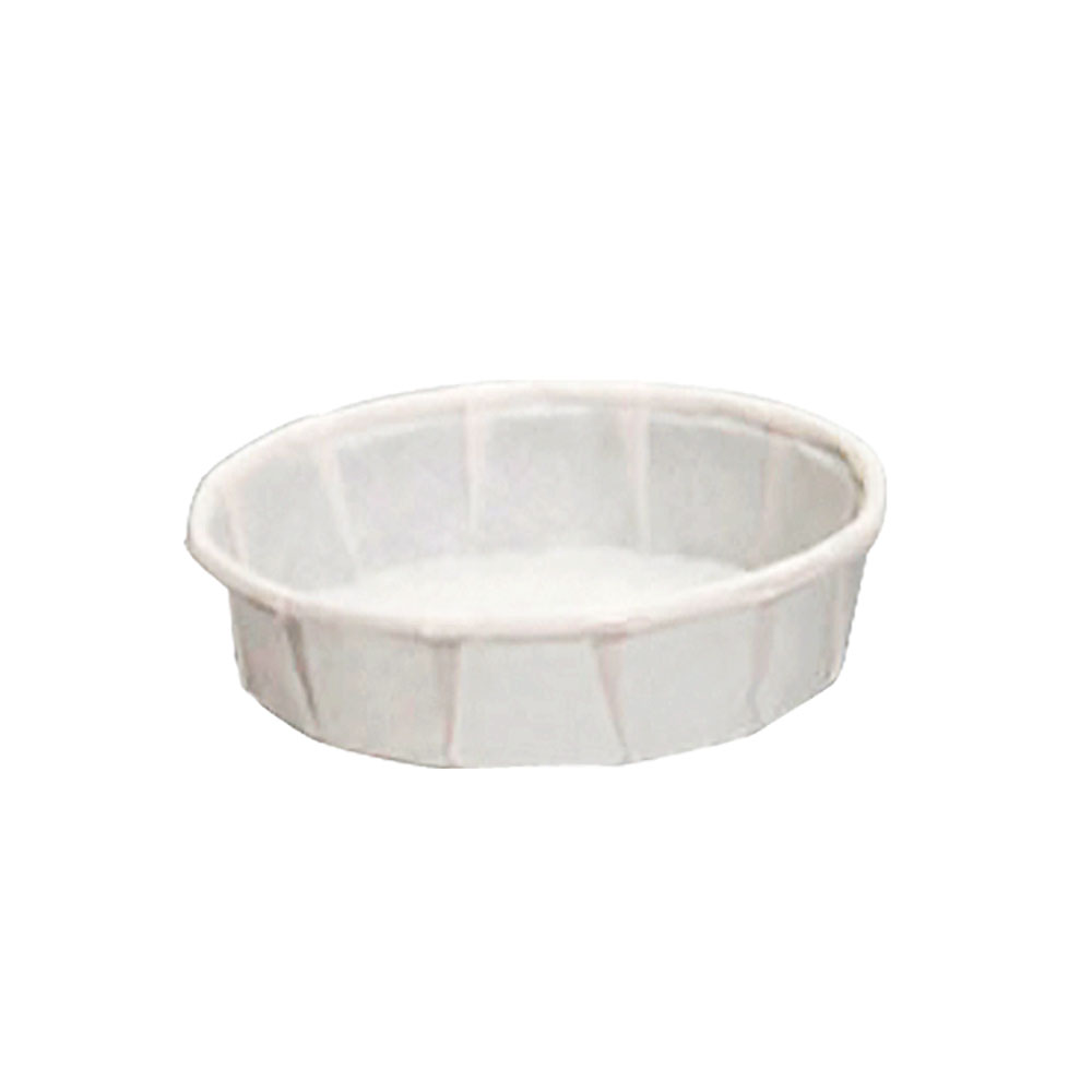 GenPack White 3/4oz Squat Pleated Paper Portion Cup F075S