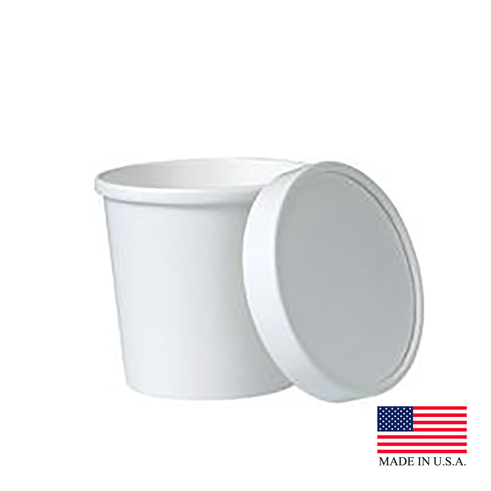 Solo White 12oz Double Poly Paper Food Container With Lid KHB12A-2050