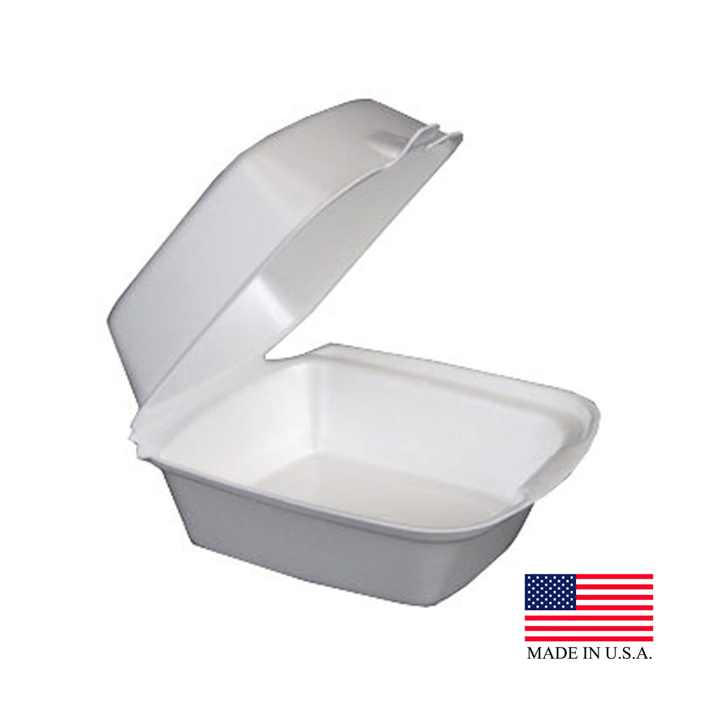 "Dart White 5"" Foam Hinged Container 50HT1"