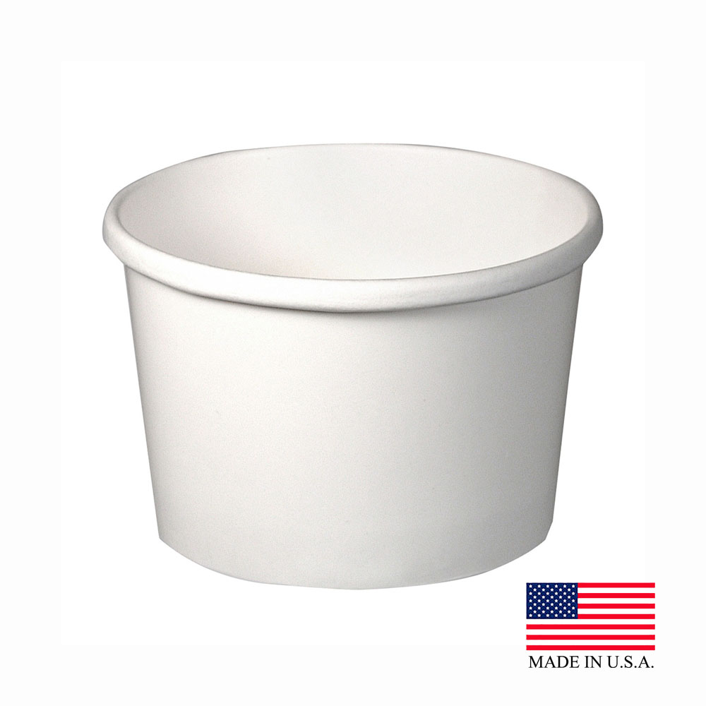 Solo White 8oz Double Poly Paper Food Container H4085-2050