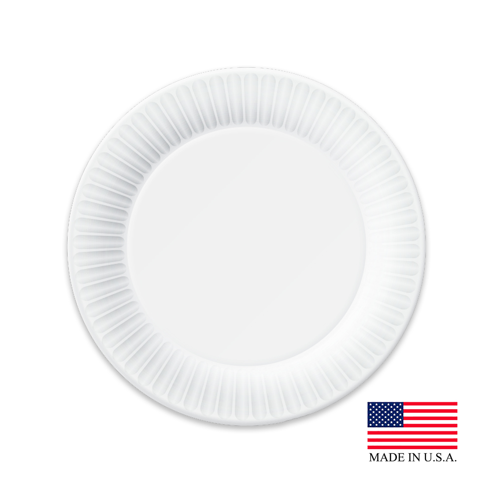 "Aspen White 8.75"" Uncoated Paper Plate 16129/43013"