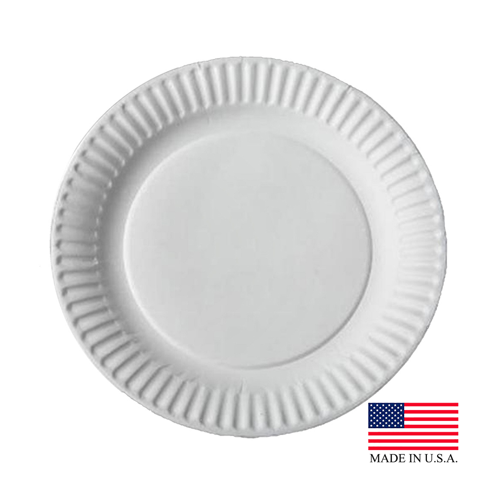 "Aspen EasyWare Design White 9"" Uncoated Paper Plate 12100-5/43004"