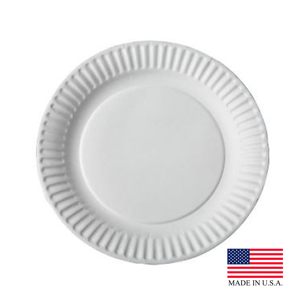 "Aspen Easyway White 9"" Uncoated Paper Plate       10109/43009"