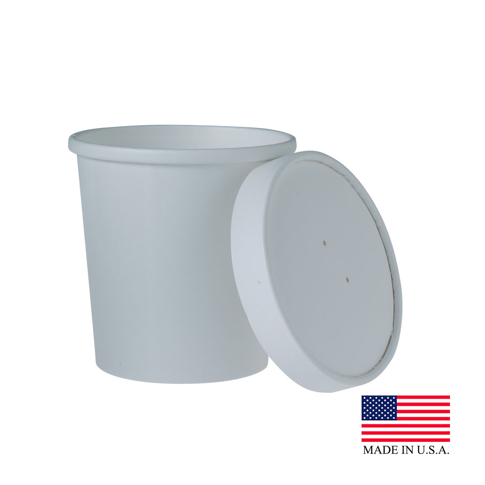 Solo White 16oz Double Poly Paper Food Container With Lid KHB16A-2050