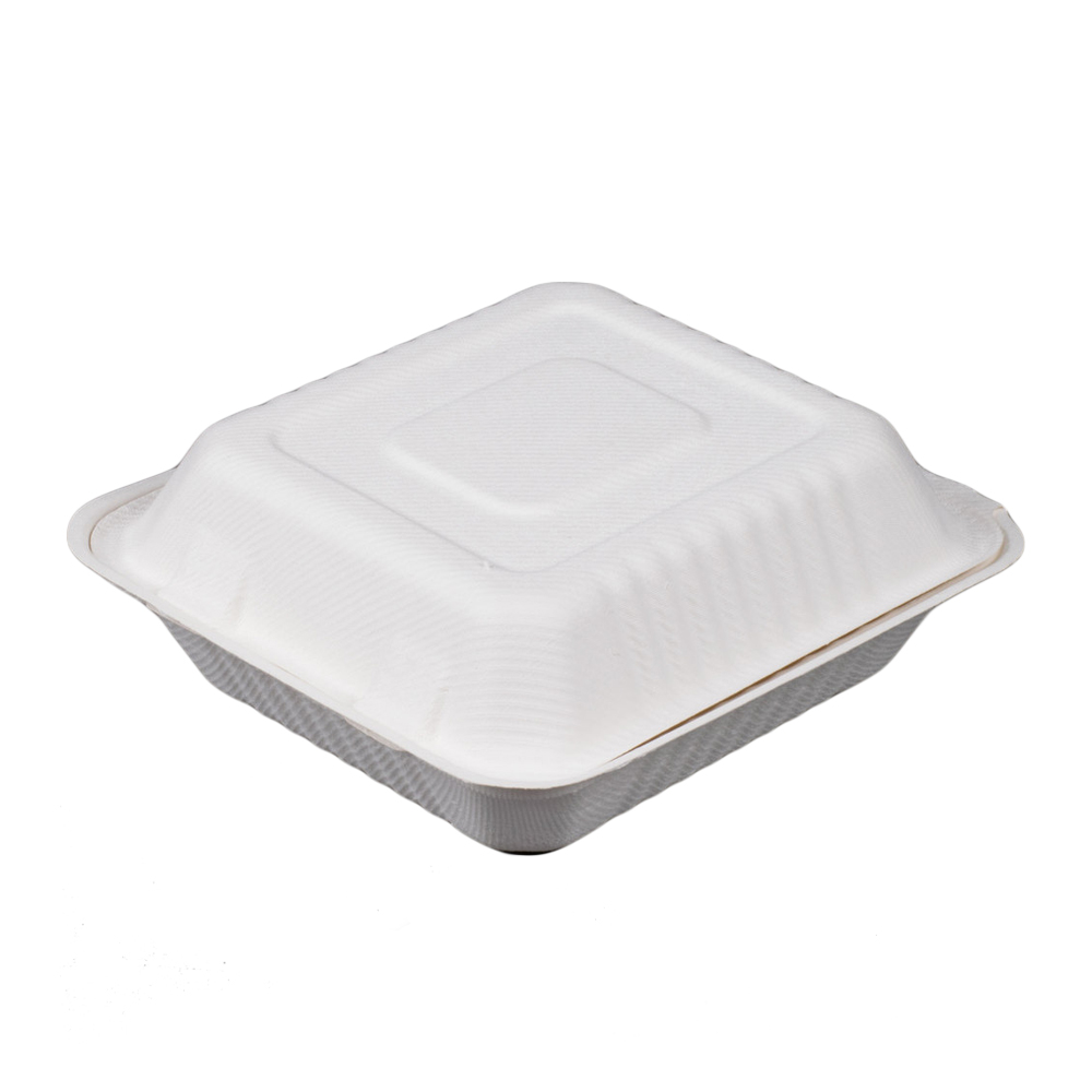 "Green Wave Intl White 8""x8""x3"" Bagasse Evolution  Hinged Container TW-BOO-010"