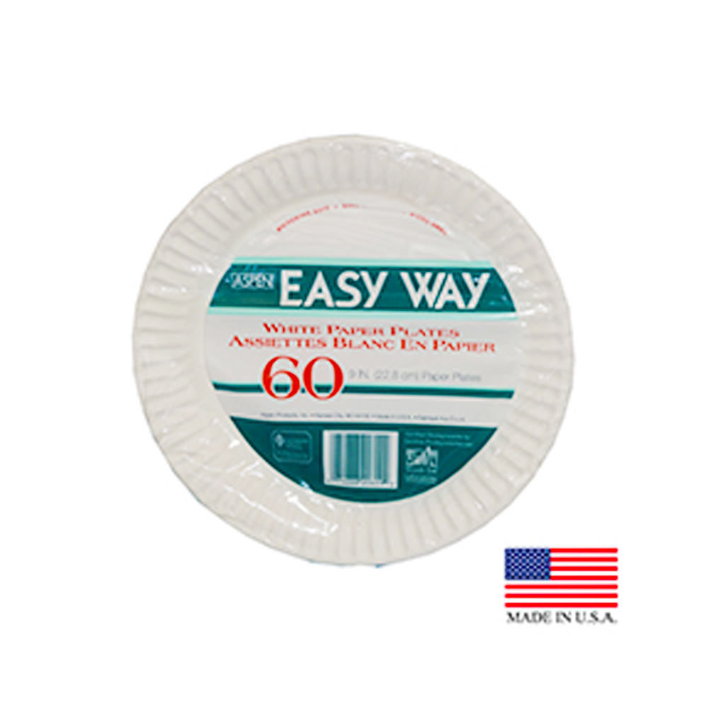 "Aspen White 9"" Easy Way Uncoated Paper Plate 20609"