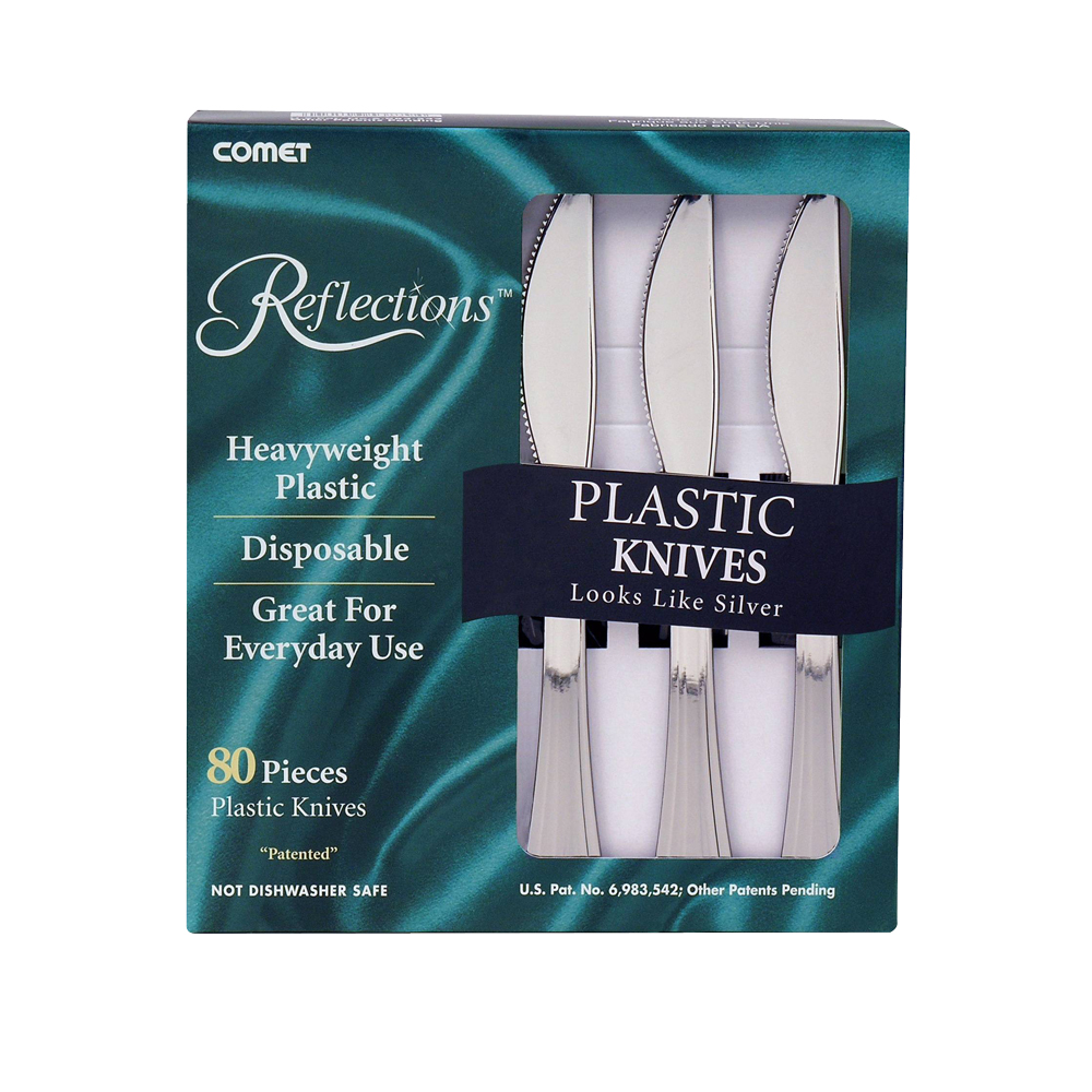 Comet Silver Heavy Weight Reflections Plastic Knife 63080