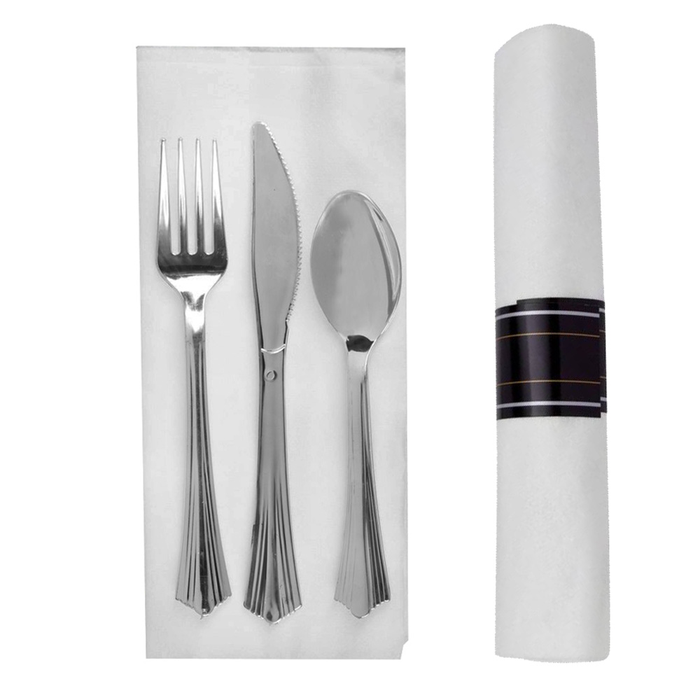 "Comet Silver Reflections Fork, Knife, Spoon and 17""x17"" Napkin Roll REFROLL3"
