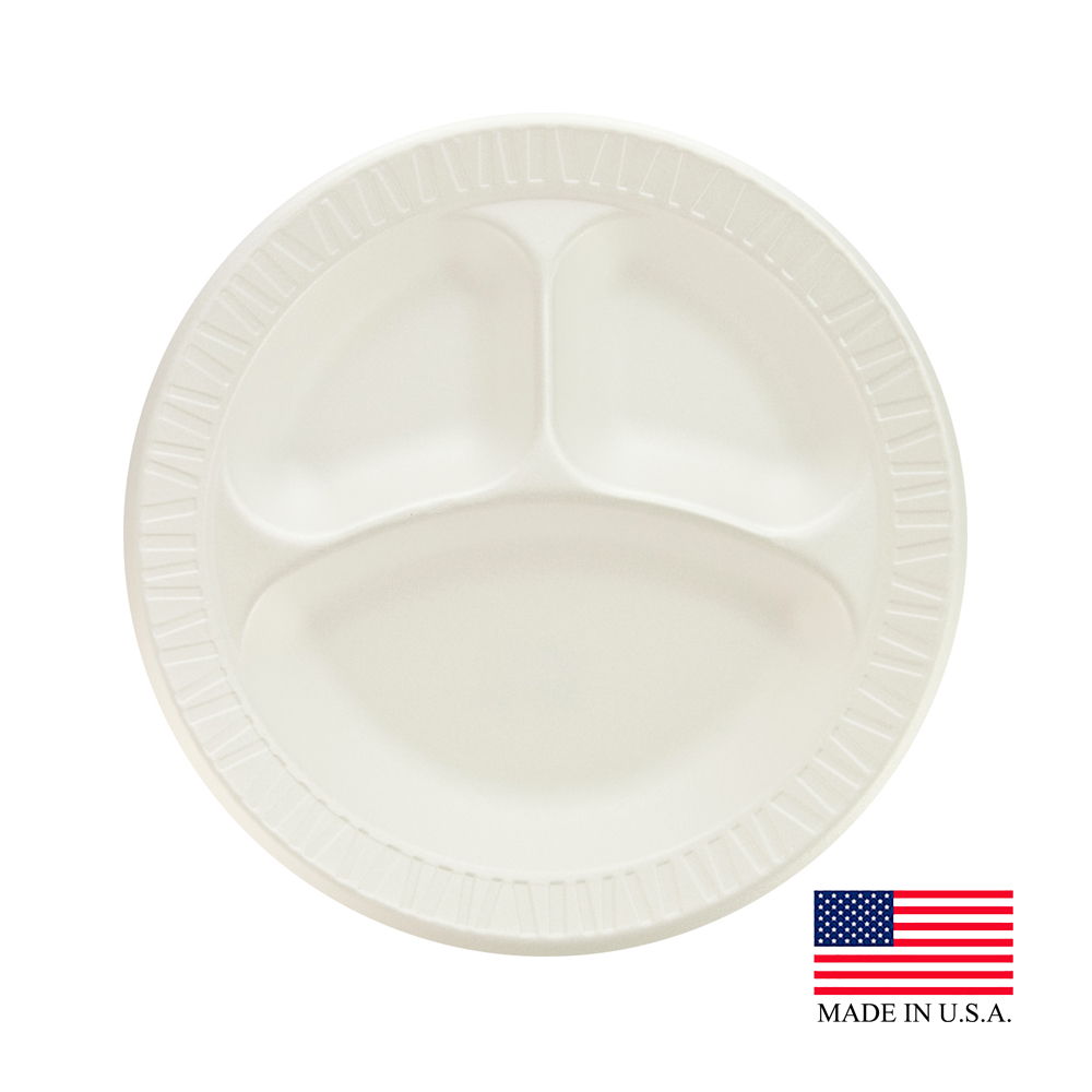 "Dart White 10"" 3 Compartment Foam Plate 10CPWCR"
