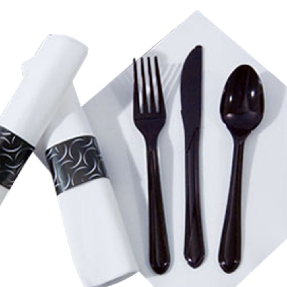 Hoffmaster Black FashnPoint Cater wrap Meal Kit Fork, Knife, Teaspoon, and Napkin With Band 119