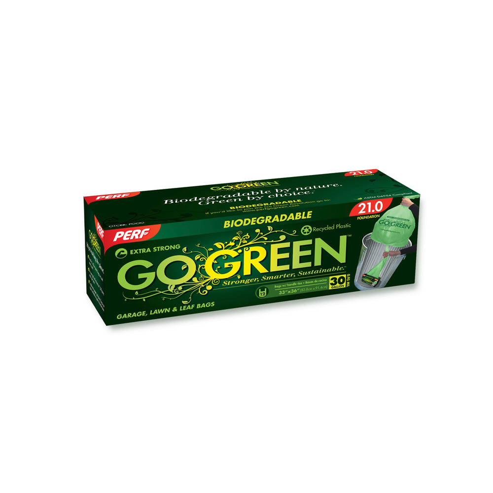 Perf Go Green Green 30 gallon Lawn & Leaf Bags With Handles TT30