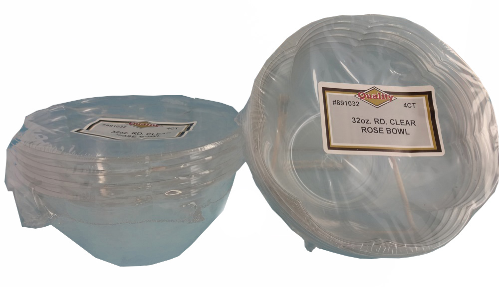 Convenience Packs Clear 32oz Round Plastic Bowl 32OZ ROSEBOWL
