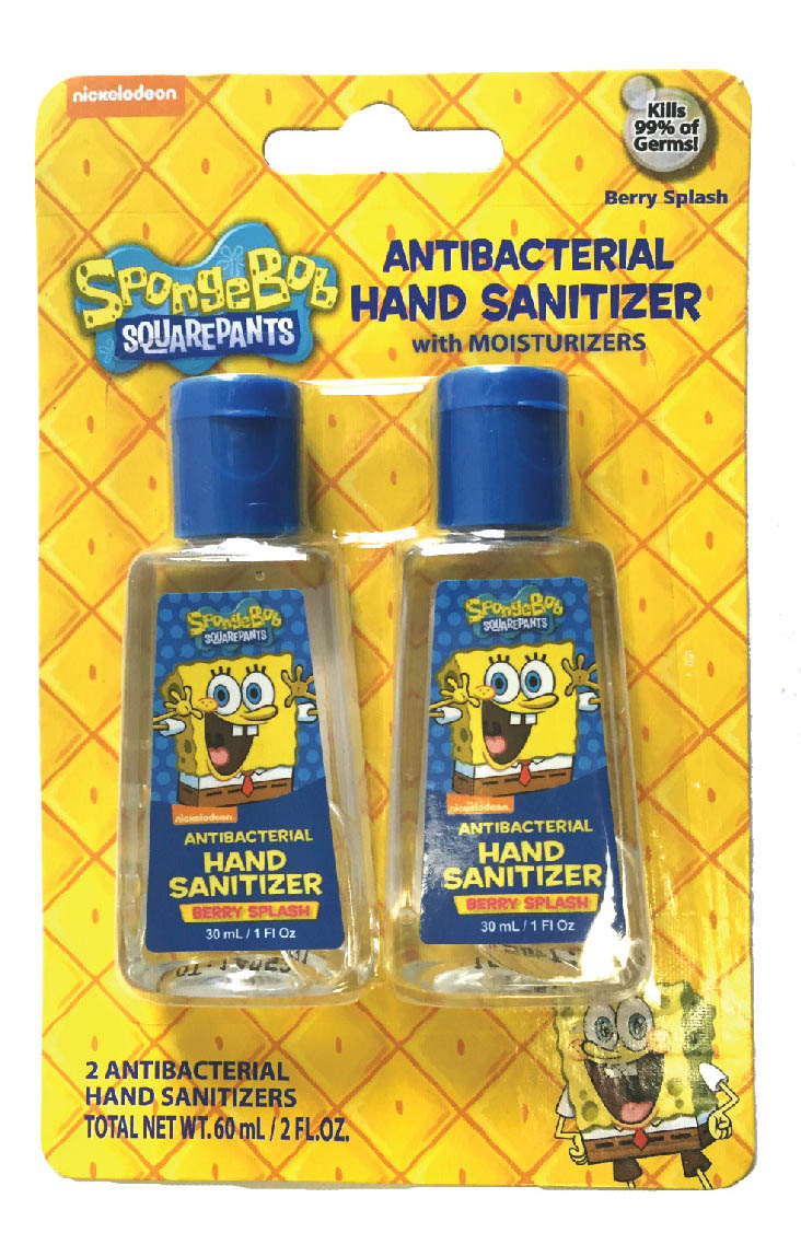 Blue Cross Labs 2pack 1oz Bottle SpongeBob Anti Bacterial Hand Sanitizer With Moisturizer 642-2