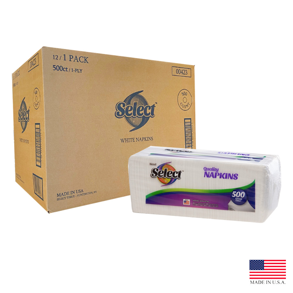 Select White 1ply 500 Count Lunch Napkin 00423