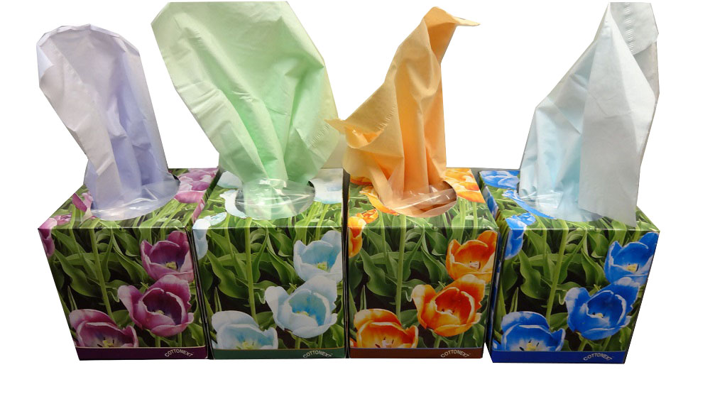 Cottonext Assorted Colors Cube Shape Facial Tissue CFT85