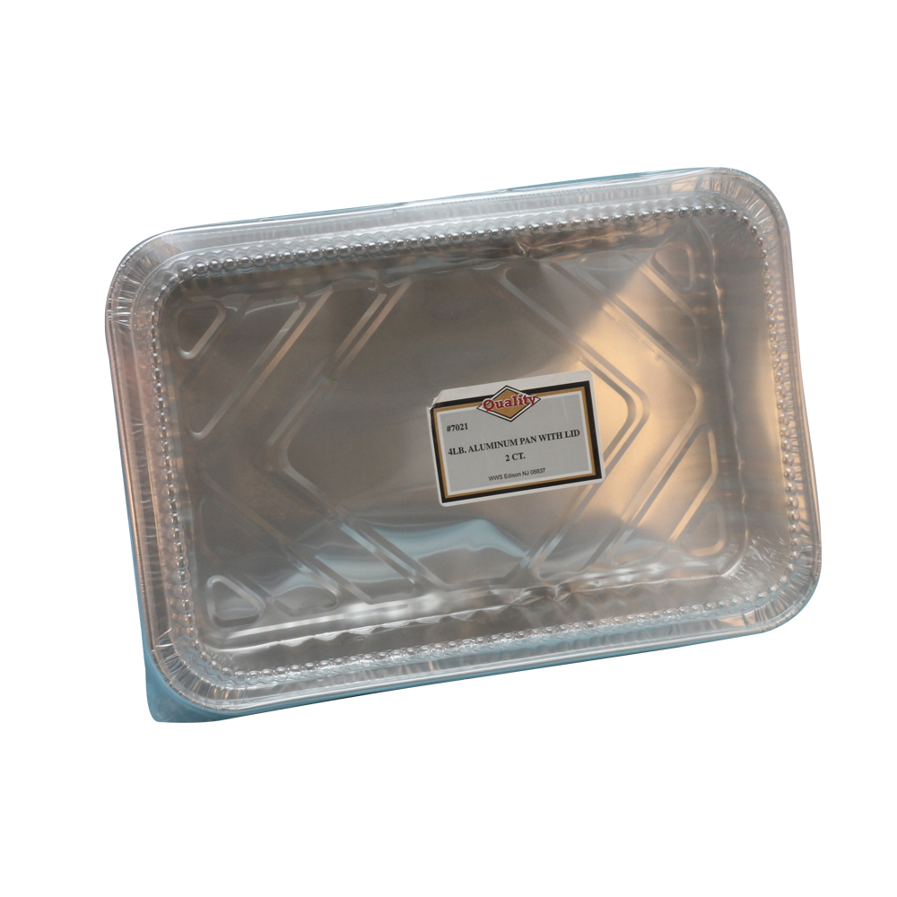 Convenience Packs Aluminum 4lb Oblong Pan with    Clear Dome Lid Combo 7021PL