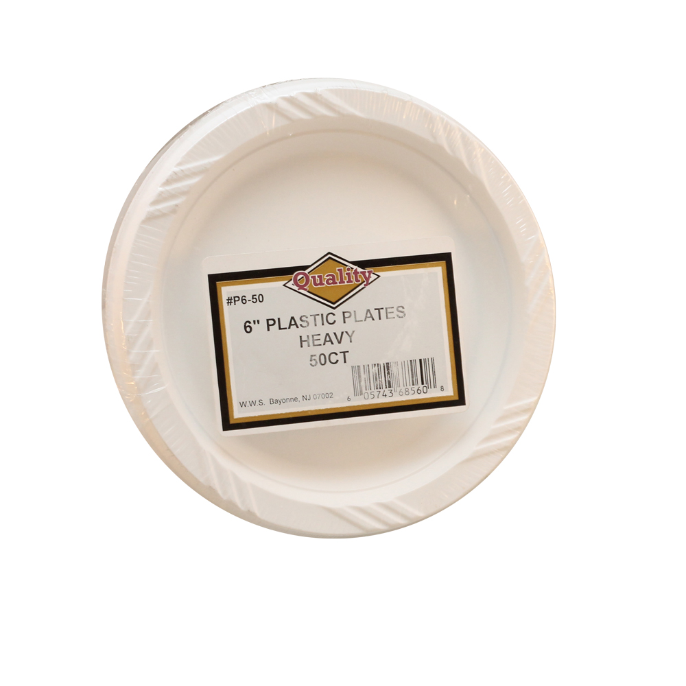 "Convenience Packs White 6"" Plastic Plates P6/50"