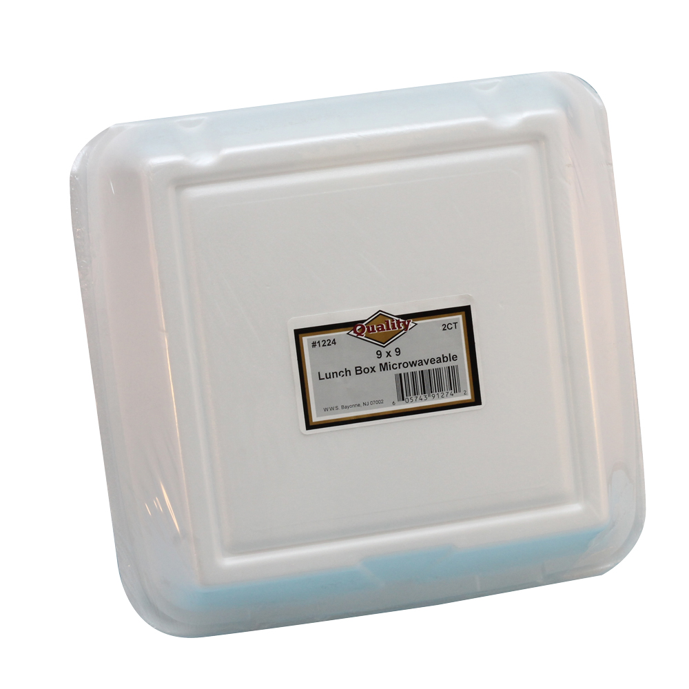 "Convenience Packs White 9""x9"" Foam Hinged Container 1224"