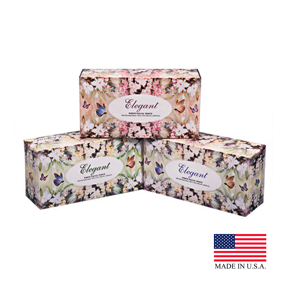 2ply 230 Count Elegant Flat Box Facial Tissue 826-230