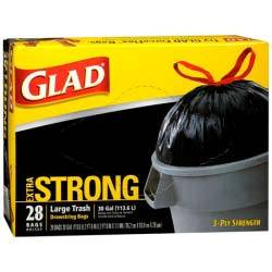 The Clorox Sales Company Black 30 Gallon Extra    Strong Glad Draw String Trash Bag 60933