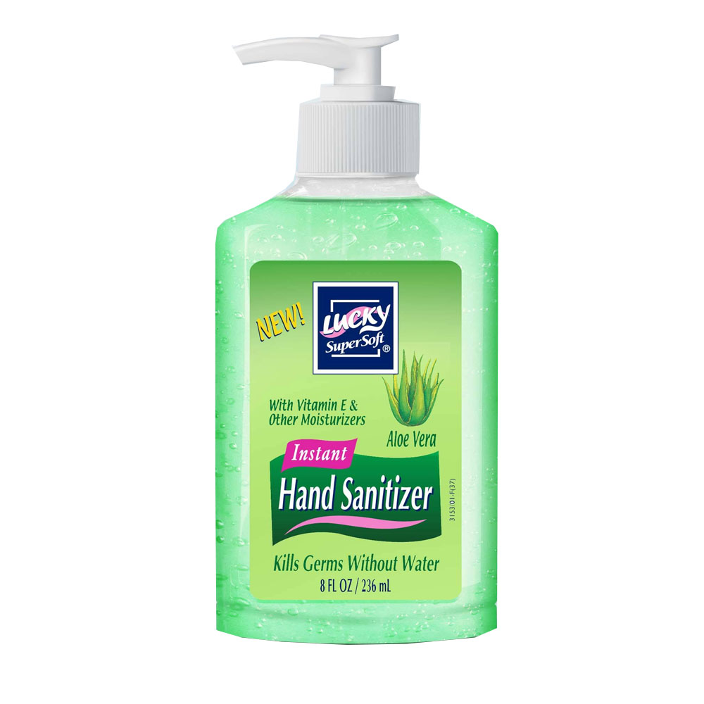 Delta Brands Green 8oz Lucky Super Soft Aloe Vera Pump Hand Sanitizer 3153-12