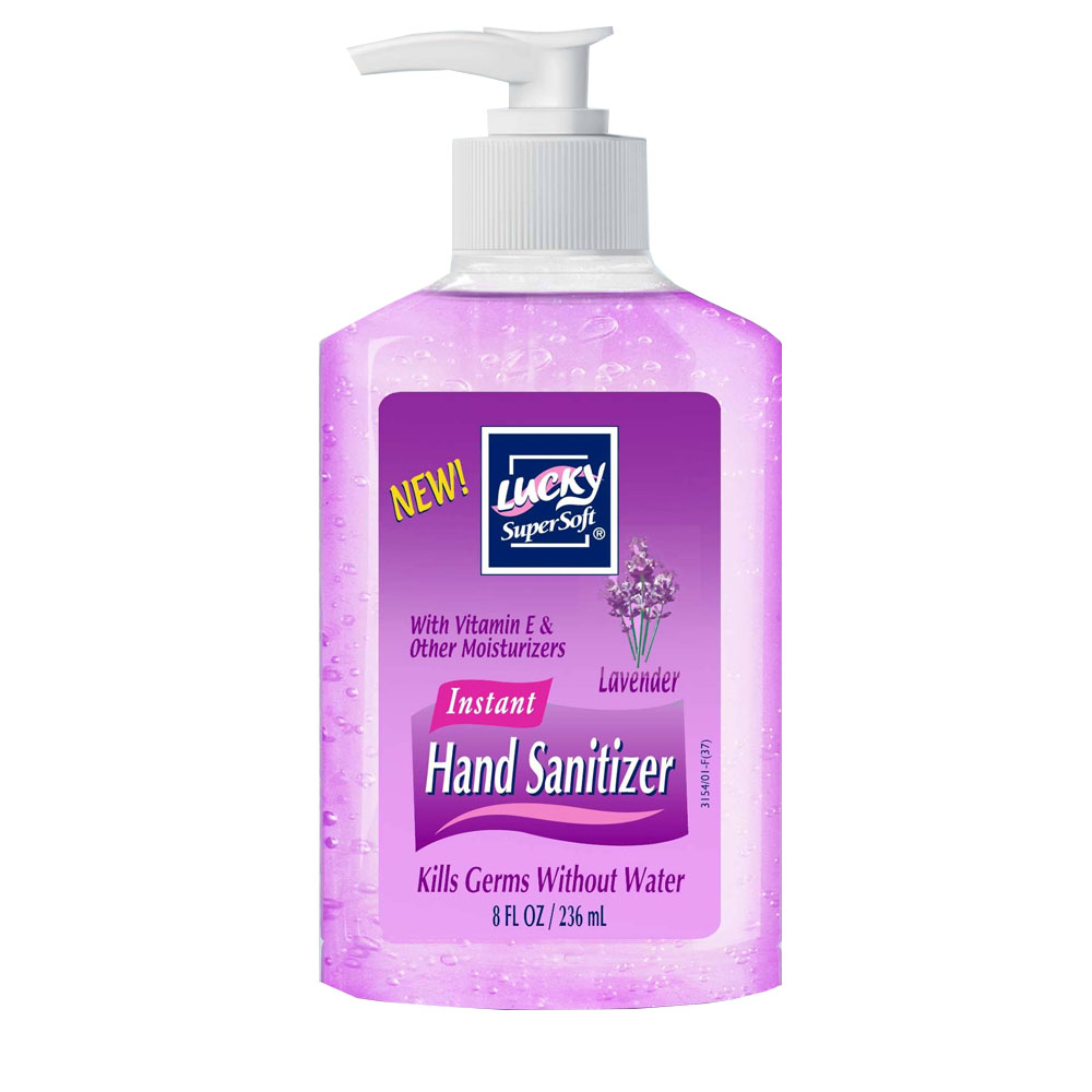 Delta Brands Purple 8oz Lucky Super Soft Lavender Scent Pump Hand Sanitizer 3154-12