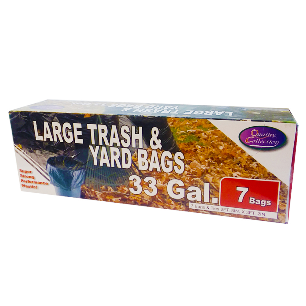Quality Collection Black 33 Gallon Large Trash And Yard Bag B72