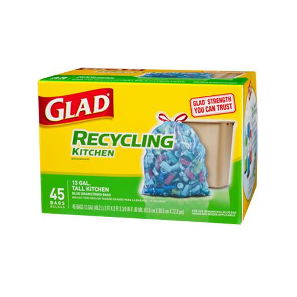 The Clorox Sales Company Blue 13 Gallon Recycle   Kitchen Glad Bag 78542